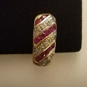 Ambras Fine Jewelry Corp / AFJC Jewelry - 10K Gold Ruby & Diamond Omega Earrings